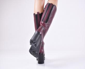 Дамски ботуши от естествена кожа бордо