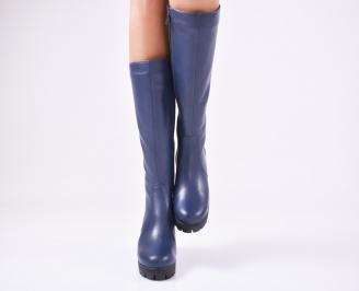 Дамски ботуши от естествена кожа сини