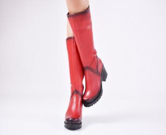 Дамски ботуши от естествена кожа червени