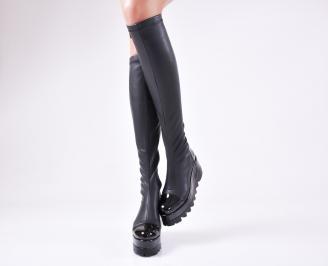 Дамски  ботуши на платформа  черни еко кожа/лак