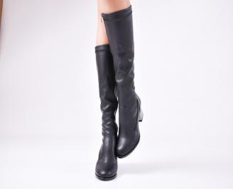 Дамски елегантни  ботуши  от еко кожа черни