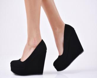 Дамски елегантни обувки на платформа  набук черни