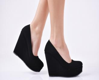 Дамски обувки на платформа  набук черни