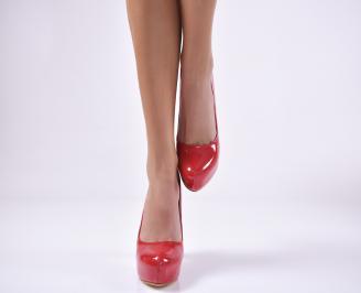 Дамски елегантни обувки еко лак червени