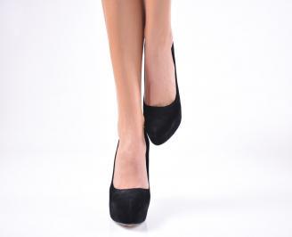 Дамски елегантни обувки  набук черни