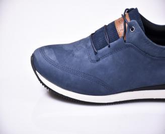 Мъжки спортно елегантни  обувки естествена кожа сини