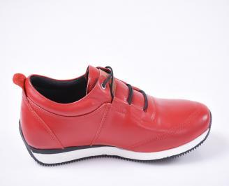 Мъжки спортно елегантни обувки естествена кожа червени