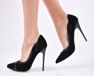 Дамски елегантни обувки  еко лак/набук черни