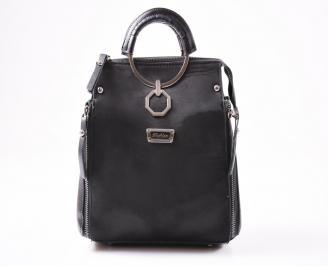 Дамска чанта еко велур черна