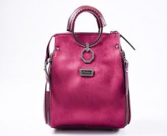 Дамска чанта еко велур  бордо