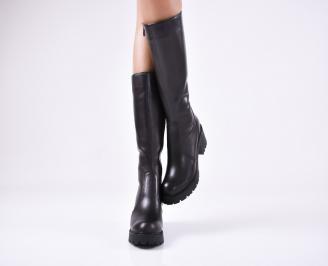 Дамски ботуши от естествена кожа черни