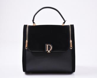 Дамска чанта еко кожа/велур черна