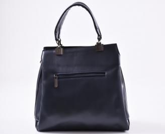 Дамска чанта еко кожа/велур синя