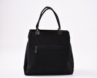 Дамска чанта еко лак/велур черна