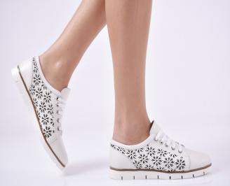 Дамски обувки равни естествена кожа бежови