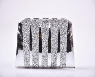 Абитуриентска чанта еко лак/брокат сребриста