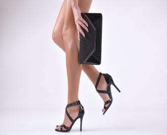 Комплект бална чанта и сандали  еко кожа/лак/брокат черни