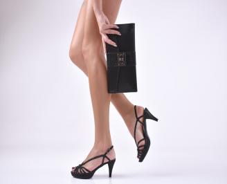 Комплект бална чанта и сандали еко кожа/  сатен черни