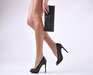 Комплект бална чанта и обувки текстил/ сатен черни
