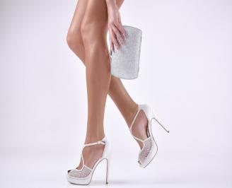 Комплект бална чанта и сандали  текстил/сатен сребристи