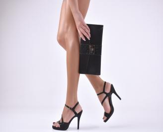 Комплект бална чанта и сандали  текстил/ сатен черни