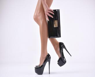 Комплект бална чанта и обувки  еко кожа/лак черни