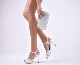 Комплект бална чанта и сандали  еко кожа бели