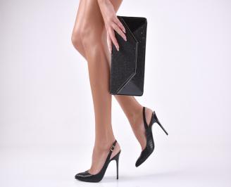 Комплект бална чанта и сандали еко кожа черни