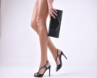 Комплект бална чанта и сандали текстил/сатен черни