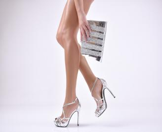 Комплект бална чанта и сандали  еко кожа/лак сребристи