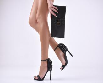 Комплект бална чанта и сандали сатен черни