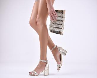 Комплект бална чанта и сандали  еко кожа златисти
