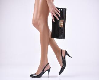 Комплект бална чанта и сандали еко кожа/лак черни