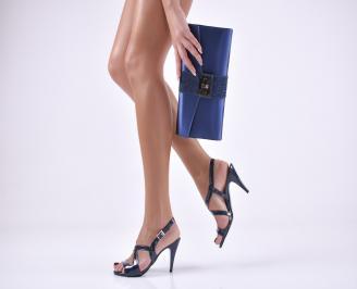 Комплект бална чанта и сандали еко кожа/лак сини