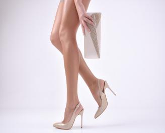 Комплект бална чанта и сандали еко кожа/лак бежови