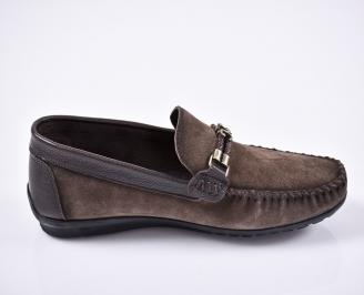 Мъжки спортно елегантни обувки естествен велур кафяви