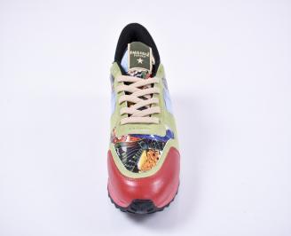 Мъжки спортно елегантни обувки еко кожа шарени
