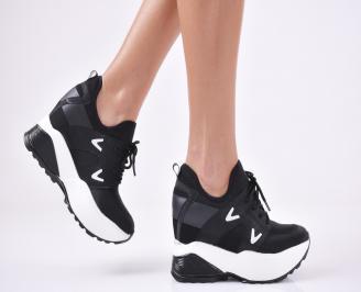 Дамски обувки на платформа текстил черни