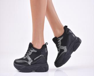 Дамски обувки на платформа еко кожа/текстил черни