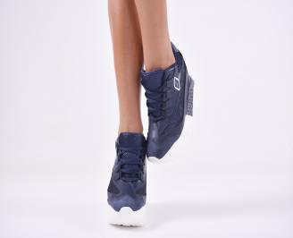 Дамски обувки на платформа еко кожа/текстил сини