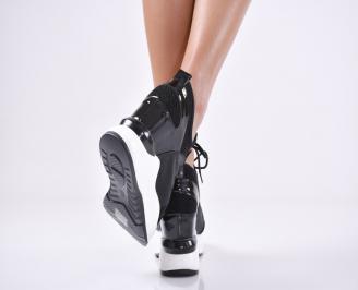 Дамски обувки на платформа еко лак/текстил черни