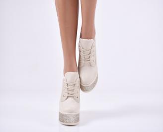 Дамски обувки на платформа еко велур бежови