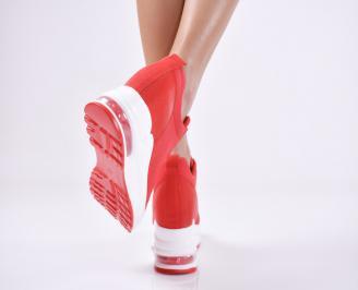 Дамски обувки на платформа текстил червени