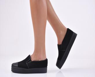 Дамски  обувки равни еко велур черни