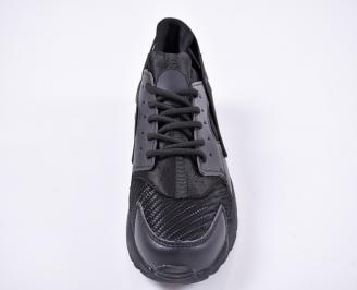 Мъжки маратонкиеко кожа/мрежа черни