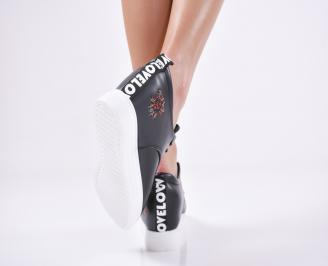 Дамски  обувки равни еко кожа черни