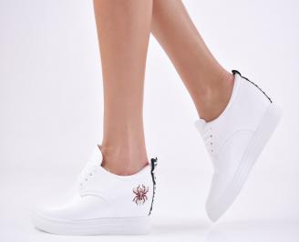 Дамски  обувки равни еко кожа бели