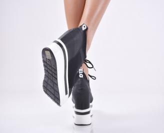 Дамски обувки на платформа текстил черни 3