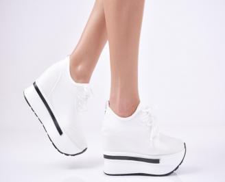 Дамски обувки на платформа текстил бели