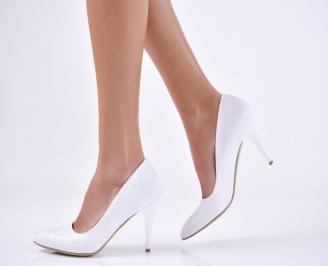 Дамски елегантни обувки сатен бели